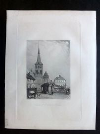 After Vickers 1834 Antique Print. Church of St. Nicholas, Berlin, Germany